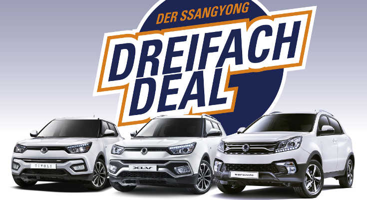 SsangYong Dreifach Deal: 0 % für Tivoli, XLV & Korando